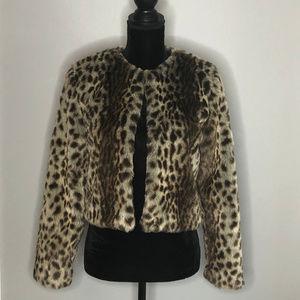 Trouve Animal Print Cropped Faux Fur Jacket Sz S